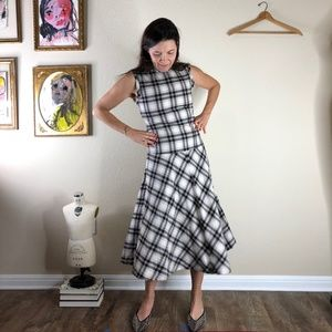 Theory Plaid Flannel Midi Dress Sleeveless Drop Wa